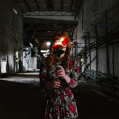 (Natalie.Michelle) Tags: fire roses abandoned selfportrait