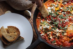 Shakshuka -Mediterranean eggs 🍳 poached in spiced tomato 🍅 sauce (TwoPenceMedia) Tags: foodphotography foodporn spice tomato sourdough 😍 😋 delicious delish enjoy cooking comfortfood red foodie eggs shakshuka eat eats food