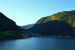 Village in Aurlandsfjord (Eddie Crutchley) Tags: cruise2017norwayicelandireland europe norway nature beauty blueskies outdoor fjord mountain coast village aurlandsfjord sunlight simplysuperb shadows