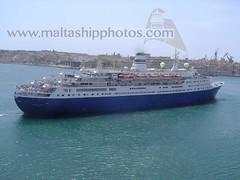 #MARCO #POLO #approaching #Valletta (#GrandHarbour), #Malta - 11.05.2005 - www.maltashipphotos.com (Malta Ship Photos & Action Photos) Tags: sea cruise liner orient lines soviet former norwegian passenger