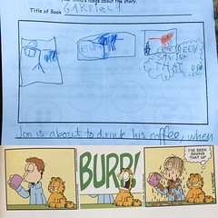 Kindergarten rendition of Garfield (artnoose) Tags: burp report book kindergarten cartoon strip comic cat garfield bernard art kid