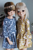 Bell sleeve dresses. (icantdance) Tags: icantdance tigerlou nanok elfdoll twiggy dress flowers elvelyckan