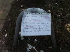 3. Montag im Monat (mkorsakov) Tags: münster city innenstadt flyer zettel hinweis gebot verbot ordnung handschrift handwriting sperrmüll gerümpel