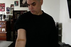 Blood Test & Haircut (Jonathan Clarkson) Tags: photobooth arms arm armfetish bigarms blood blooddraws bloodtests bloodwork needles hypodermicneedles muscles muscle musculararms bandaids health fitness
