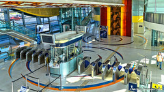 Dubai, United Arab Emirates: Business Bay metro station (Red Line) (nabobswims) Tags: ae businessbay dubai hdr highdynamicrange hochbahn ilce6000 lightroom metro nabob nabobswims photomatix rapidtransit sel18105g sonya6000 station subway ubahn uae unitedarabemirates
