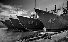 Five Decommissioned Frigates. Philadelphia Navy Yard ©2018 Steven Karp (kartofish) Tags: oliverperry frigate ship clouds usnavy ussklackring ffg42 ffg45 usshaluyburton ffg40 ussrobertgbradley ffg49 blackandwhite mothballed decomissioned abstract monochrome uss ussdewert oliverhazardperryclass