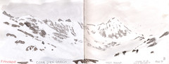 180218 Col de Puymorens (Vincent Desplanche) Tags: sketch sketchbook sketching seawhiteofbrighton seawhitesketchbook croquis carandache neocolor neocolorii montagne mountain mountains sketchingmountains mountainsketching snow neige hiver hike randonnee puymorens coldepuymorens pyrenees pirineos cerdagne cerdagna andorra winter dessinerlamontagne dessinersurlevif urbansketchers aquarelle watercolor neocolor2