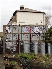 Sample, Zonk, Teach... (Alex Ellison) Tags: zonk dds ac teach throwup throwie northwestlondon urban graffiti graff boobs oker gsd sample