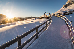 Greeting the day at Mammoth Hot Springs (YellowstoneNPS) Tags: mammothhotsprings sunrise boardwalk winter