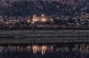 Reflejos. (Amparo Hervella) Tags: manzanareselreal comunidaddemadrid españa spain embalsedesantillana paisaje agua roca reflejo castillo pueblo noche color largaexposición d7000 nikon nikond7000 nocturna