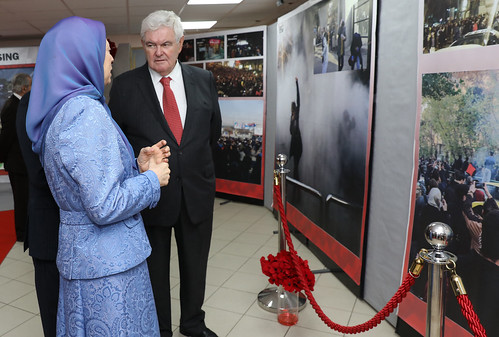 Maryam Rajavi, former US House Speaker Newt Gingrich, visit an exhibition honoring the Iranian people's uprising and those martyred