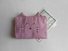 Porta-documentos Gatinho - Lilás (O Jardim Acessórios) Tags: portacartões cartões algodão tecido carteirinha gato presente cute artesanal pocket portadocumentos gatinho