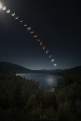 Time lapse composite of Wednesday morning's lunar ecplise taken at Redding's Whiskeytown Lake (wesome) Tags: adamattoun eclipse lunareclipse redding whiskeytown
