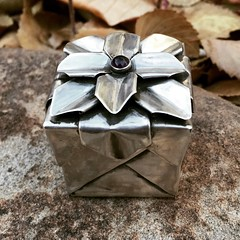 Origami hydrangea box in 30 gauge silver with an amethyst cabochon on top (Silverorigami) Tags: origami silver box