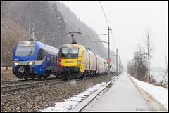 Meridian ET 301, ÖBB 1116 153+Railjet, Kufstein, 3-2-2018 (Allard Bezoen) Tags: trein train zug flirt meridian stadler flink leichter innovatiever triebzug treinstel et et301 301 obb öbb österreichische bundesbahnen taurus siemens es64u2 oebb 1116 railjet wenen lok elok loc eloc locomotief lokomotieve locomotive