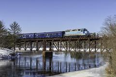 Pan Am OCS at Great Falls (Thomas Coulombe) Tags: centralmainequebec cmq panam panamrailways emdgp383 gp383 ocs passengertrain train androscogginriver greatfalls bridge trestle lewiston maine