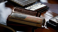 Grandpa's ghost (Parchman Kid (Jerry)) Tags: sony a6500 parchmankid hohner dearmond harmonica harp guitar pick up color bokeh old grandpa grandfather memories music blues marine band x155 goldtone sel18105 ilce6500 sel 18105mm e pz
