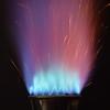 Rocket's Red Glare (nrg_crisis) Tags: flame macro red blue hot ironpowder mekerburner
