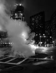 Street Steam (iMatthew) Tags: boston iphoneography bnw blackandwhite bw monochrome monochromatic steam streetsteam steaming fog foggy huntingtonave westnewtonst prudential prudentialcenter urbanscape backbay reflection contrqst night manhole manholecover