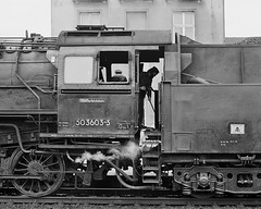 Footplate days DR  |  1986 (keithwilde152) Tags: br5035 grossbothen sachsen dr ddr east germany 1986 station town platforms tracks people loco crew steam locomotives blackandwhite monochrome outdoor autumn