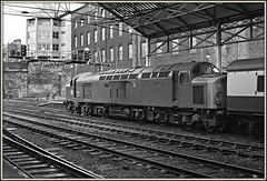 Yorkshire Whistler (david.hayes77) Tags: class40 englishelectric type4 40077 disc huddersfield yorkshire 1977 monochrome mono bw blackandwhite acutol ilford fp4 whistler