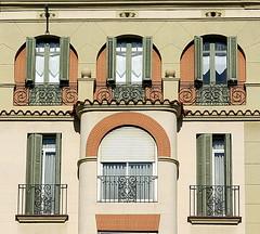 The standout:  Barcelona (Spencer Means) Tags: barcelona dreta eixample catalonia catalunya spain arch bay oriel shutters brick brickwork explore