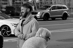 3-3 Candids 16 (TheseusPhoto) Tags: blancoynegro blackandwhite bnw monochrome streetphotography street streetportrait people laugh smile guy citylife city sanfrancisco sanfran