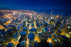 Sears Tower Sky Deck View to the North (Christopher J May) Tags: explored explore searstower chicago bluehour evening night illinois il cityscape nikond600 sigma1224mmf4556ii