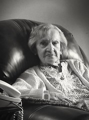 100.5 (giggie larue) Tags: portrait granny 10012 easychair telephone bw pghwinter201718