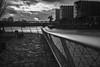 Retina-Xenar 3.5/5cm (eberhardwild) Tags: schneiderkreutznachretinaxenar355cm himmel sky schwarzweis monochrome railing geländer nacht night water hafen port westhafen dunkel dark frankfurt main city sony altglas