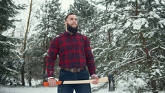 Bearded man with axe (n_lev44) Tags: ifttt 500px forest portrait winter cold nature north man snow alone serious caucasian looking forester hold guy shirt equipment rural outdoors beard jeans work casual strength brutal stylish axe mustache macho job cutter professional lumberjack tough hipster woodsman wintertime