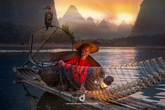 The Secret Of Lights (fesign) Tags: adult bambooraft bird boat chinaeastasia chineseculture closeup colourimage cormorant details fisherman fishing fishingnet gaslamp guilin horizontal karstformation lantern mountain net oneanimal onemanonly oneperson oneseniorman outdoors people photography reflection river riverli rurallife senioradult sitting sunrisedawn sunset traditionalclothing twilight water woodmaterial xingping yangshuo