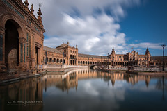 Plaza Reflection - Seville, Spain (www.caseyhphoto.com) Tags: d800 europe andalusia seville spain nikon nikkor eu european spanish andalucia sevilla travel traveling traveler traveller travels traveled wanderlust wandering explore explorer exploring adventure adventurer adventuring photography photographer artist culture cultura cultural tourism tourist vacation holiday history historic plaza españa reflection sky cielo nubes clouds reflejos nd ndfilter neutral density filter slow shutter speed long exposure urban iberian mediterranean viajes