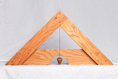 Libella Front (Mark Birkle) Tags: libella level image photo picture wood oak osage horse hair arabian tail triangle medieval tool plumb bob building construction trigonometry gravity geometry practical ancient old concept center string woodworking line past
