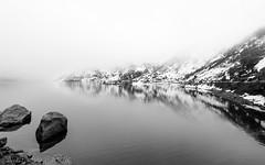 DSC_0652-Edit (Nirmalya Pandit) Tags: reflection hills lake mist snow india sikkim bw landscape