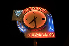 Jackson Jewelers (Curtis Gregory Perry) Tags: salem oregon jackson jewelers jewelry night long exposure neon sign clock time 730 light nikon d810