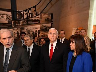 VP Mike Pence visits Yad Vashem Holocaust Museum