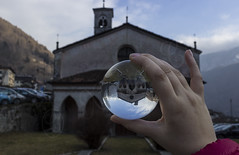 Chiesa San Rocco, Bagolino, Italy (xavier.care) Tags: geo:lat=4582573405 geo:lon=1045893073 geotagged bagolino italia italy chiesa church rocco sphere ball crystal glass hand fingers mirror lombardia italie ita