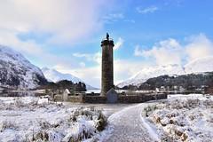 Glenfinnan (Croydon Clicker) Tags: memorial snow bonnieprincecharlie mountains loch lake water ice sky clouds scotland