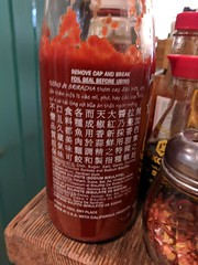 February 22: Sriracha (earthdog) Tags: 2018 needstags needstitle googlepixel pixel cameraphone moblog androidapp sriracha bottle word text work office condement food edible project365 3652018