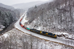 CSX 850 - Foley, PA (Wheelnrail) Tags: csx csxt foley overlook pa pennsylvania sand patch train trains grade mountain allegheny keystone subdivision ge es44ac locomotive rail railroad railway 850 snow winter cold scenic rural woods forest