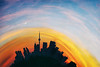 Golden Hour & Young Moon on Planetoid of Toronto (Katrin Ray) Tags: goldenhouryoungmoononplanetoidoftoronto moon youngmoon sunset clouds sky golden light dramatic blue yellow orange futuristic toyronto littleplanet notrepetiteplanète photoshop planetization toyrontolife toyland toronto ontario canada katrinray dreamscapesoftoronto canonphotography eos canon rebel t6i 750d cntower