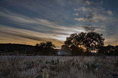 sunset barn (KClarkPhotography) Tags: hill country state natural area sunset barn texas clouds dramatic sky live oak landscape