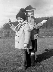 The dule (theirhistory) Tags: children boys kids coat wellies trousers gun pistol wellingtons
