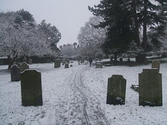 Alone in a wintry graveyard. (Bennydorm) Tags: eerie cemetery trees inglaterra inghilterra angleterre europe uk gb britain england cumbria furness ulverston fujifinepix february solitary alone bleak cold snow winter headstones tombstones graves gravestones graveyard