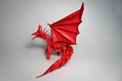 Ancient Dragon (Arturo-) Tags: ancient dragon dragão origami paper papel dobradura doubletissue red vermelho complex complexo horns chifres 8 asas wings satoshi kamiya works