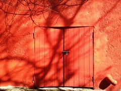 Red doors on public street #texture (LUMEN SCRIPT) Tags: vividstriking red gate door shadow poetry vivid colour wall branch