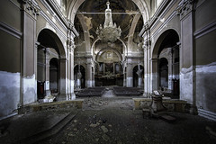 MKP (Martin Kriebernegg) Tags: lost lostplace lamp urbex urban exploration abandoned decay derelict forgotten found former old architectual building church chapel chiesa chandelier creepy dark light arches architecture pillars columns bench hdr canon travel
