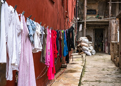 Down a Cuban Alley (Wits End Photography) Tags: chair color decay street people city multicolored alley colorful seat travelphotography objects instagram colors seating streetphotography cuba places havana drive pavement road roadway route