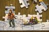 Old Timey Kid Transportation (lclower19) Tags: odc transportation toboggan jigsaw puzzle winter